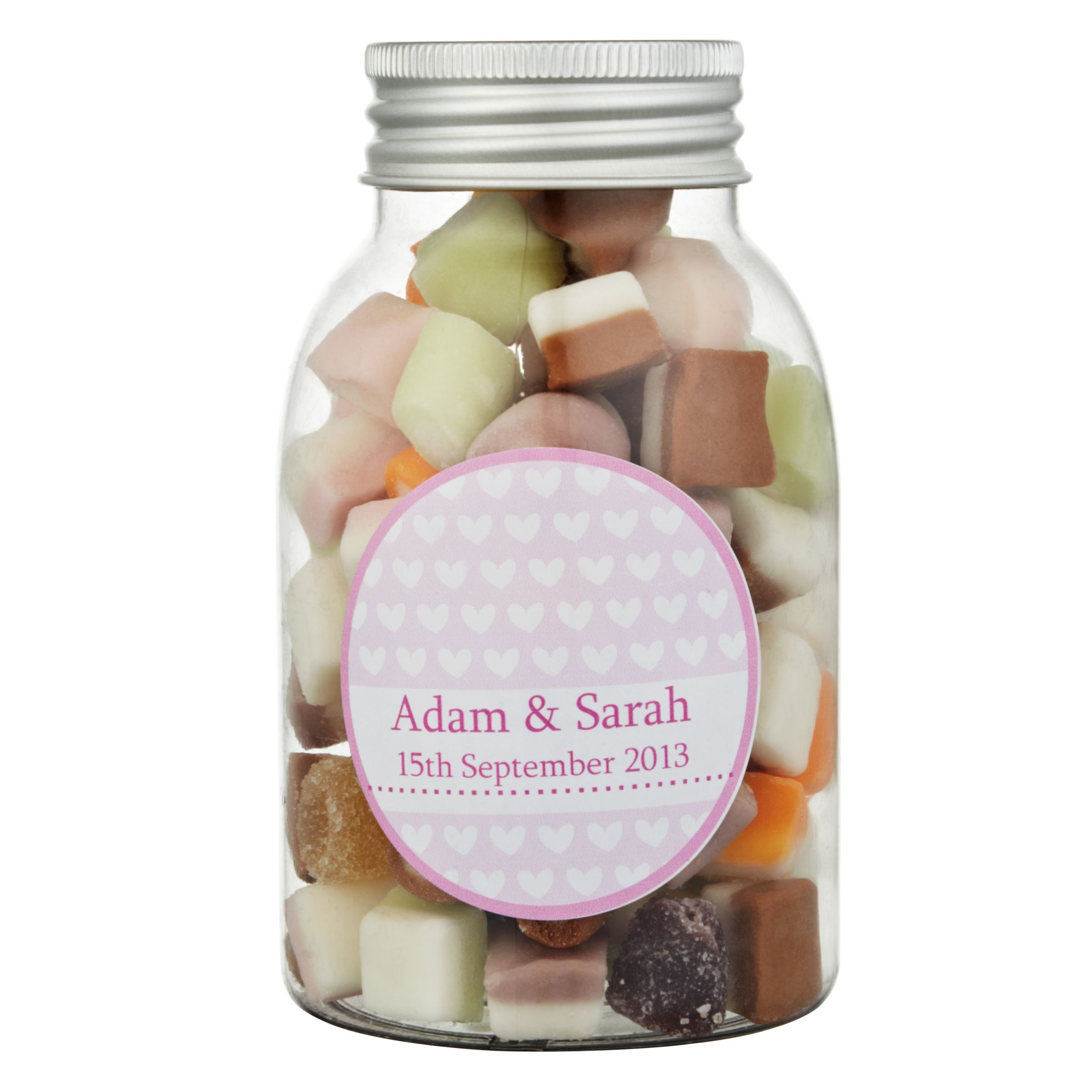 Fine Confectionery Company Fine Confectionery Company Personalised Dolly Mix Hearts Jar, Pack of 25, Large