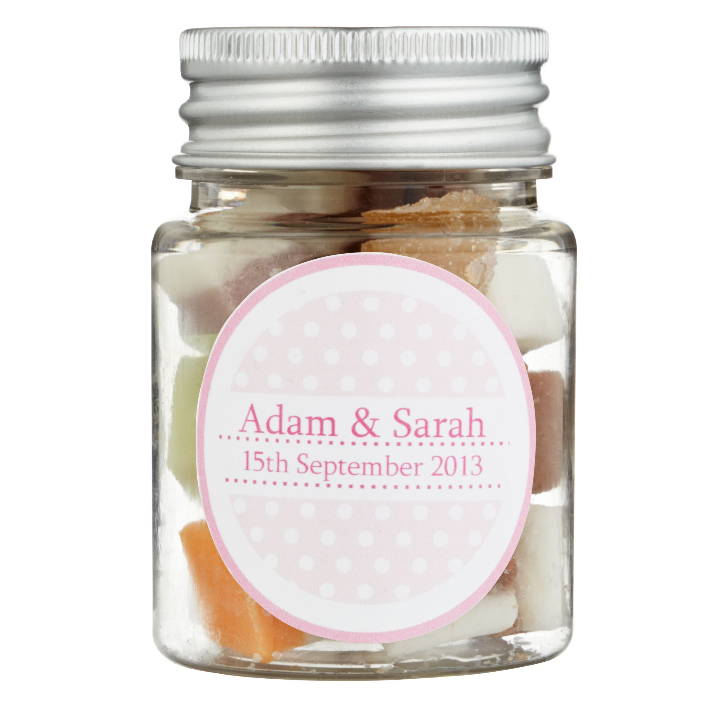 Fine Confectionery Company Fine Confectionery Company Personalised Dolly Mix Spotty Jar, Pack of 25, Small