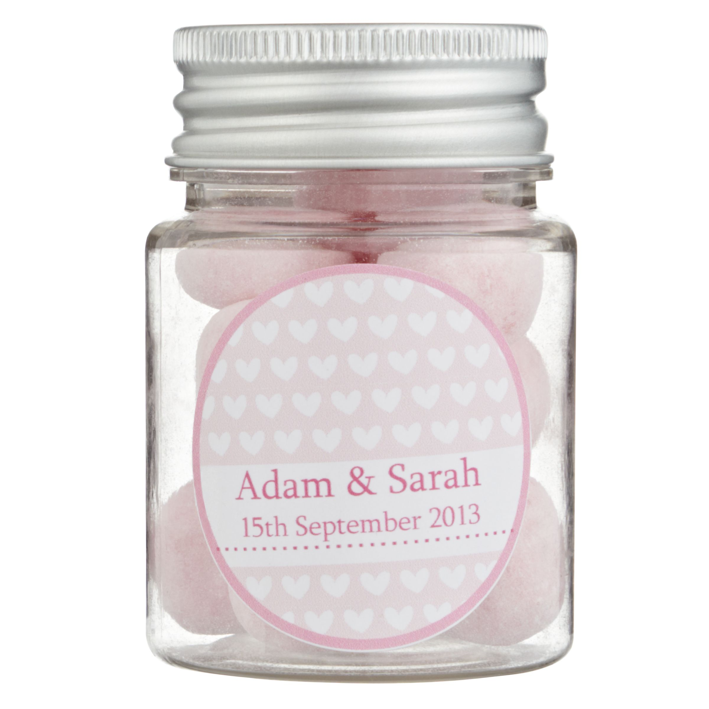 Fine Confectionery Company Fine Confectionery Company Personalised Bon Bons Hearts Jar, Pack of 25, Small