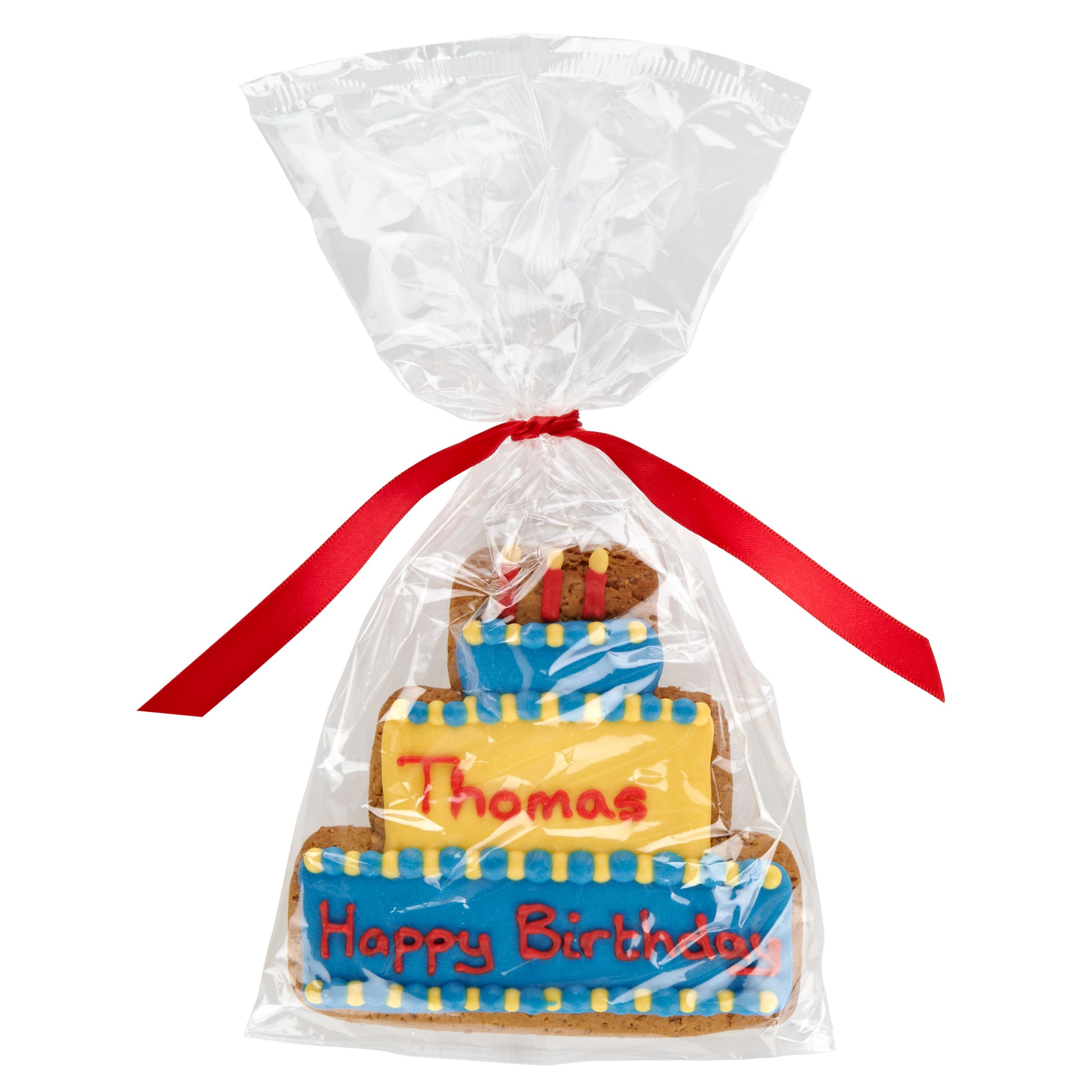 Image on Food Image on Food Personalised Happy Birthday Cake Boy Gingerbread, Pack of 10