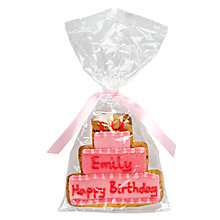Buy Image on Food Personalised Happy Birthday Cake Girl Gingerbread, Pack of 10 Online at johnlewis.com