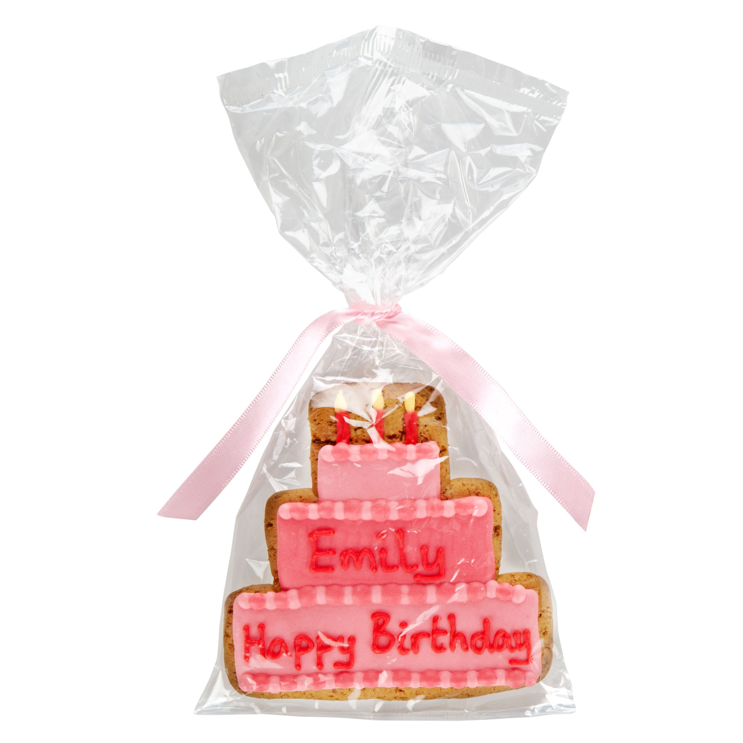 Image on Food Image on Food Personalised Happy Birthday Cake Girl Gingerbread, Pack of 10