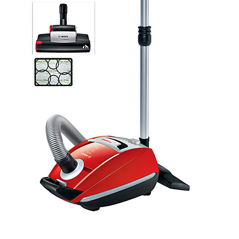 Buy Bosch BSGL5PETGB Pet Cylinder Vacuum Cleaner, Red Online at johnlewis.com