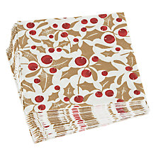 Buy John Lewis Holly Lunch Paper Napkins, Pack 20 Online at johnlewis.com