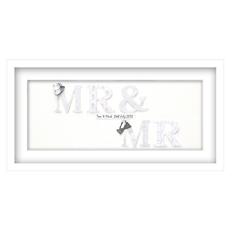 Buy John Lewis Mr & Mr Personalised 3D Laser-cut Print, Silver, 32.5 x 62.5cm Online at johnlewis.com