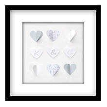Buy Hearts and Letters Personalised 3D Laser-cut Print, Silver, 41.5cm x 41.5cm Online at johnlewis.com