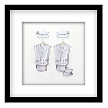 Buy John Lewis Suits Mr & Mr Personalised 3D Laser-cut Print, Silver, 43 x 43cm Online at johnlewis.com