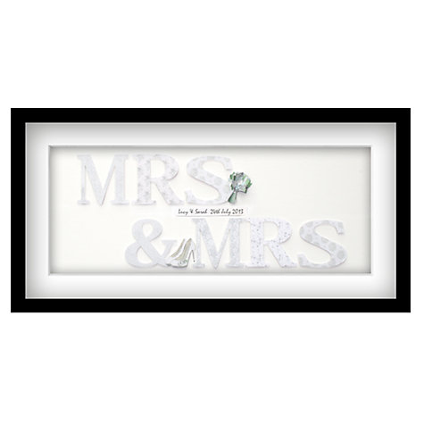 Buy John Lewis Mrs & Mrs Personalised 3D Laser-cut Print, Silver, 32.5 x 62.5cm Online at johnlewis.com