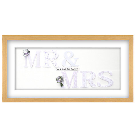 Buy John Lewis Mr & Mrs Personalised 3D Laser-cut Print, Lilac, 32.5 x 62.5cm Online at johnlewis.com