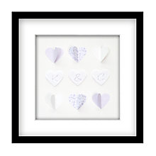 Buy Hearts and Letters Personalised 3D Laser-cut Print, Lilac, 41.5cm x 41.5cm Online at johnlewis.com