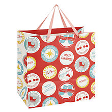 Buy John Lewis Christmas Badges Shopper Gift Bag Online at johnlewis.com