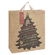 Buy John Lewis Tree Hessian Effect Gift Bag, Large Online at johnlewis.com