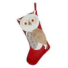 Buy John Lewis Rural Owl Christmas Stocking, Red Online at johnlewis.com
