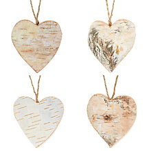 Buy John Lewis Bark Heart Tree Decorations, Set of 10 Online at johnlewis.com