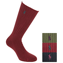 Buy Polo Ralph Lauren Gift Set Socks, Pack Of 3, Red/Navy/Green Online at johnlewis.com