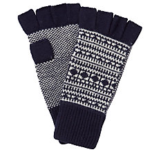 Buy JOHN LEWIS & Co. Fair Isle Knitted Fingerless Gloves, Navy/White, One Size Online at johnlewis.com