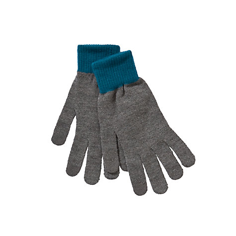 Buy Kin by John Lewis Touch Screeen Block Cuff Gloves, Grey/Teal Online at johnlewis.com