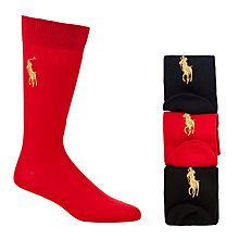 Buy Polo Ralph Lauren Cotton Rich Socks, Pack of 3, Black/Red/Navy Online at johnlewis.com