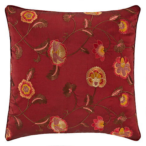 Buy John Lewis Oriental Floral Cushion, Red Online at johnlewis.com