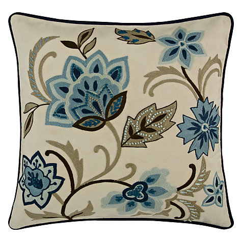 Buy John Lewis Fusion Flower Cushion, Blue Online at johnlewis.com