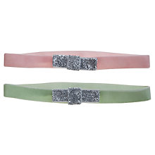 Buy John Lewis Girl Glitter Bow Velvet Headbands, Pack of 2, Pink/Green Online at johnlewis.com