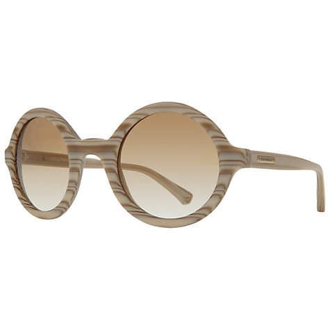 Buy Emporio Armani EA4011 509413 Round Wood Effect Frame Sunglasses, Light Wood Online at johnlewis.com