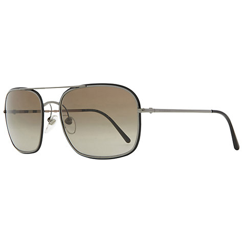 Buy Burberry BE3061 100313 Square Metal Frame Aviator Style Sunglasses, Gunmetal Online at johnlewis.com