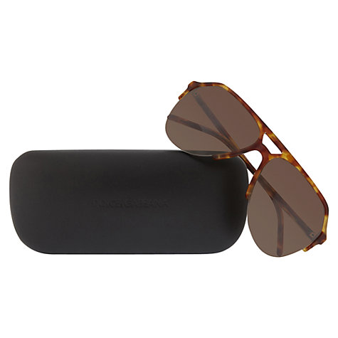 Buy Dolce & Gabbana DG4178 706/73 Aviator Sunglasses, Tortoise Online at johnlewis.com