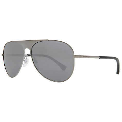 Buy Emporio Armani EA2002 301081 Block Front Aviator Style Sunglasses, Grey Online at johnlewis.com