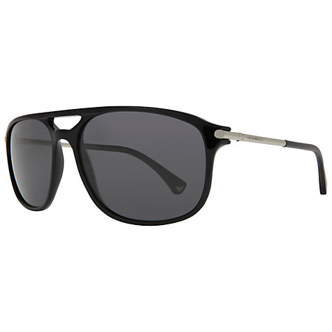 Buy Emporio Armani EA4012 506187 Modern Acetate Aviator Sunglasses, Black Online at johnlewis.com