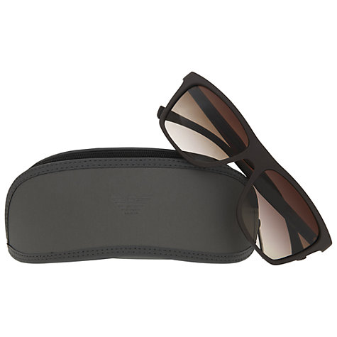 Buy Emporio Armani EA4001 Rectangular Sunglasses, Brown Online at johnlewis.com
