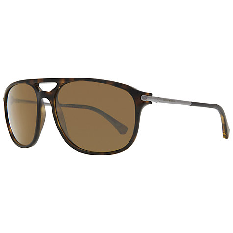 Buy Emporio Armani EA4013 Rectangular Sunglasses, Brown Online at johnlewis.com