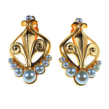 Buy Alice Joseph Vintage 1980s Karl Lagerfeld Fleur de Lys Pearl Earrings, Gold Online at johnlewis.com