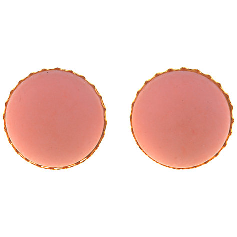 Buy Alice Joseph Vintage 1960s Miriam Haskell Round Stone Clip-On Earrings, Pink Online at johnlewis.com