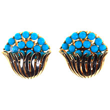 Buy Alice Joseph Vintage 1960s Trifari Faux Turquoise Clip Earrings, Gilt Online at johnlewis.com