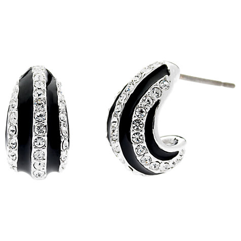 Buy Finesse Enamel and Crystal Row Stud Earrings, Black Online at johnlewis.com