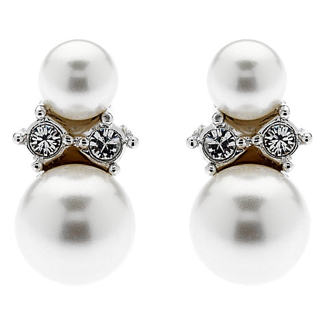 Buy Finesse Double Pearl Swarovski Crystal Stud Earrings, White Online at johnlewis.com