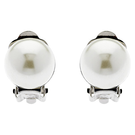 Buy Finesse Classic 12mm Pearl Clip-On Earrings, White Online at johnlewis.com