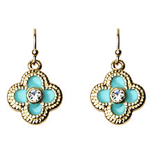 Buy Adele Marie Enamel Cross Diamante Stud Earrings, Turquoise/Gold Online at johnlewis.com