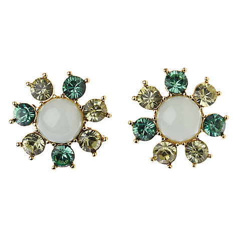 Buy Adele Marie Flower Stud Earrings, Green/Gold Online at johnlewis.com