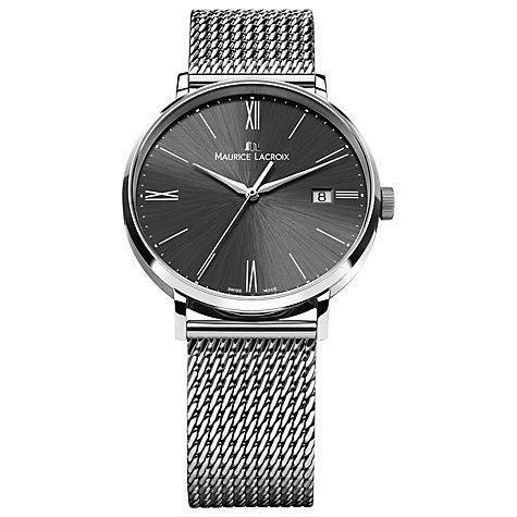 Buy Maurice Lacroix EL1118-SS002-310-1 Men's Eliros Mesh Bracelet Strap Watch, Silver/Black Online at johnlewis.com