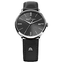 Buy Maurice Lacroix EL1087-SS001-310 Eliros Leather Strap Watch, Black Online at johnlewis.com