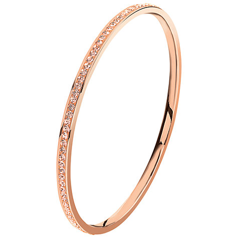 Buy Folli Follie Match and Dazzle Rose Gold Plated Crystal Bangle, Champagne Online at johnlewis.com
