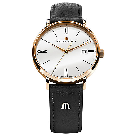 Buy Maurice Lacroix EL1087-PVP01-110 Men's Eliros Leather Strap Watch, White Online at johnlewis.com