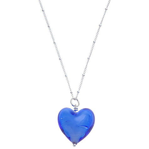 Buy Martick Murano Style Glass Pendant Necklace, Blue Online at johnlewis.com