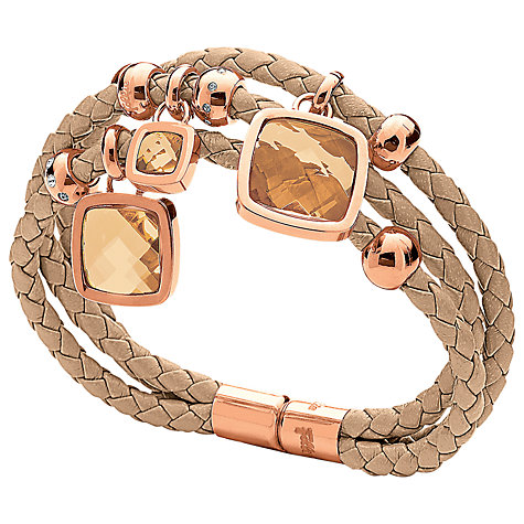 Buy Folli Follie Elements Woven Crystal Charm Bracelet, Rose Gold Online at johnlewis.com