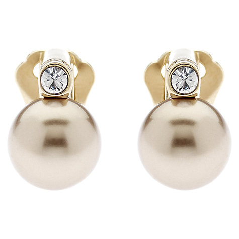 Buy Finesse Pearl and Crystal Gold Plated Clip Earrings, Bronze Online at johnlewis.com