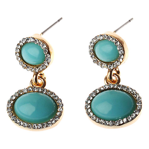 Buy Adele Marie Diamanté Gold Plated Drop Earrings, Aqua/Gold Online at johnlewis.com