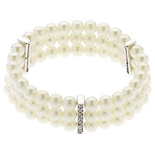 Buy Finesse Classic Three Row Pearl Stretch Bracelet, White Online at johnlewis.com