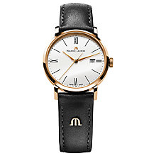 Buy Maurice Lacroix EL1084-PVP01-110 Women's Eliros Leather Strap Watch, White Online at johnlewis.com